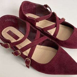 ✨SOLD✨ Forever 21 Burgundy Red Suede Flats